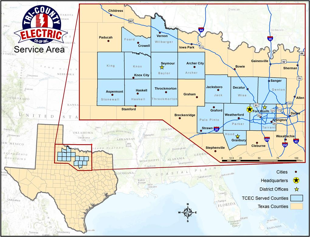 Service Territory Tri County Electric Cooperative Inc